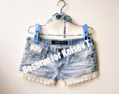 RESERVED for Kelsey.... Low Waist Light Blue Jeans Cut Off Shorts Summer Hippie Chic Sexy Sweet White Lace - Hot