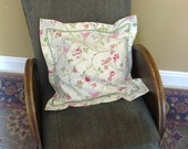 "oxford style cushion cover from Clarke and Clarke ""Birdtrail"" fabric with sage green ric rac trim"