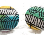 Colorful Stripes and Chevron Zig-Zag Post Button Earrings