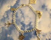 Sky High Charm Bracelet, world traveller charm bracelet complete with 5 charms, silver plated