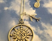 Where to today, Airplane Compass Necklace, Silver Plated chain with 2 cute charms