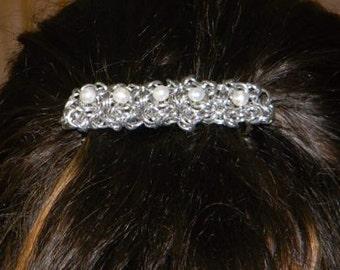 Aluminum chainmail Barette w/ 5mm Pearl Beads