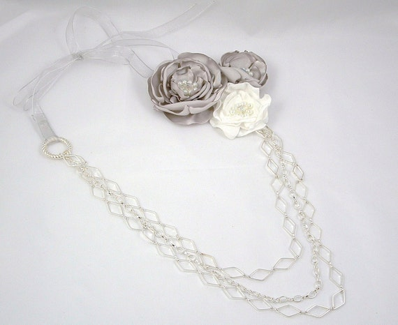 Gray and White Statement Fabric Necklace, three tiered silver toned chains
