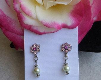 Pink flower rhinestone earrings (E4101)