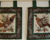 2 Small Colorful Fabric Wallhangings of Game Birds 1 of Pheasant and 1 of Ruffed Grouse