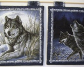 2 Fabric Wallhangings of Wolves in Moonlight