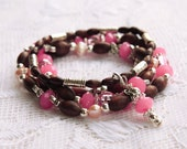 Fall Bead Stretch Stack Bracelets Dark Brown, Berry and Tibetan Silver