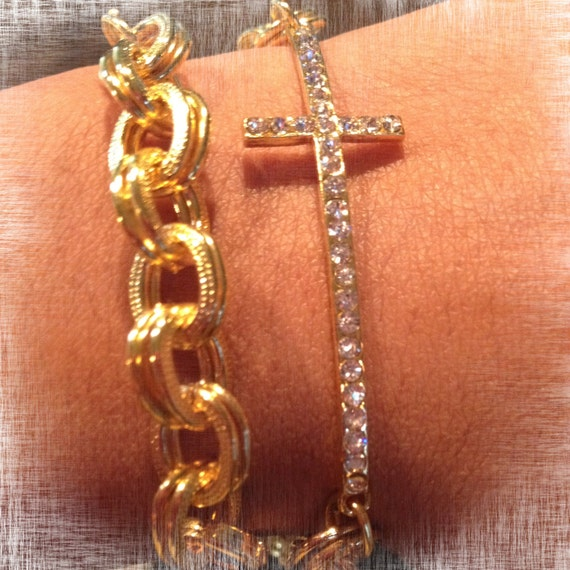 The CHRISTINA: Delicate Gold Cross Pave Chain Bracelet