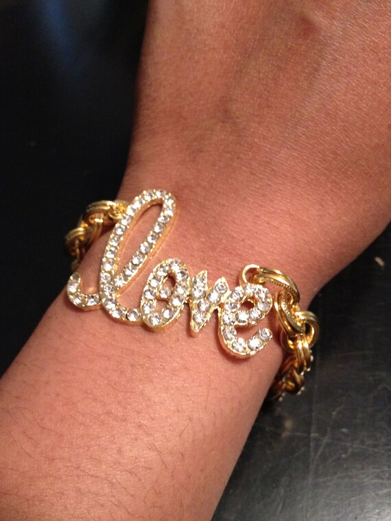 The AMORE: Delicate Gold Love Pave Charm Chain Bracelet