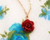 Rose necklace, gold necklace, bridesmaid necklace, bridal jewelry, flower necklace, silver necklace, flower jewelry, rose gold, gold fill