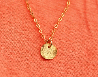 Disc necklace, Gold  disc necklace, tiny disc necklace, bar necklace, gold simple necklace, gold minimalist, everyday necklace, charm