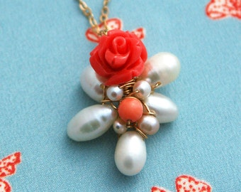 Charm cluster necklace, rose necklace, pink coral rose, pearl necklace, bridesmaid necklace, silver necklace, rose pendant,