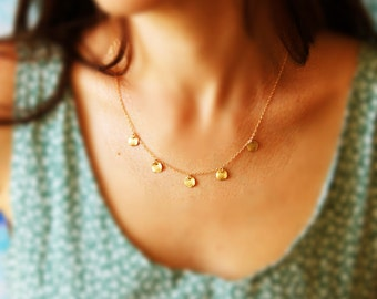 Gold Disc Necklace, Dainty Gold Necklace, Tiny Gold Disc Necklace, Delicate Gold Necklace, Simple Everyday Jewelry, Dainty Pendant