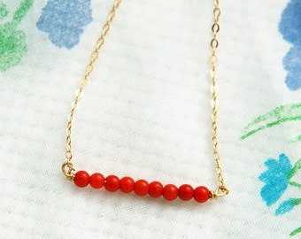Red coral necklace, coral bead gold necklace, red gold necklace, silver necklace, simple necklace, red gold jewelry