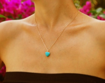 Turquoise necklace, gold necklace, Heart necklace, bridesmaid necklace, turquoise pendant, heart pendant, bridesmaid gift rose gold necklace