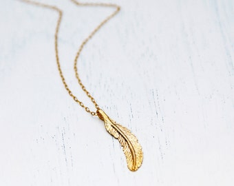 Feather necklace, gold necklace, extra LONG necklace, feather pendant, gold feather jewelry, dainty gold necklace, feather pendant