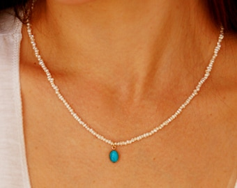 Pearl necklace, bridal necklace, turquoise pendant, gold necklace, turquoise and pearl necklace, tiny pearl necklace, freshwater pearl