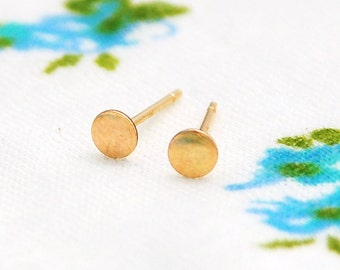 Stud earrings, post earrings, simple studs, tiny studs, every day earrings,  gold post earrings, 14k  gold dot earrings
