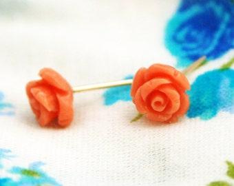 Pink rose earrings, Flower stud earrings, Coral pink rose earrings, pink rose earrings, tiny rose, coral teal gold earrings, weddings