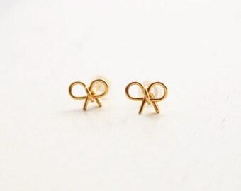 Bow earrings, stud earrings, gold stud earrings, 14k gold filled post earrings, bridesmaid earrings, gold bow, small earrings, wedding