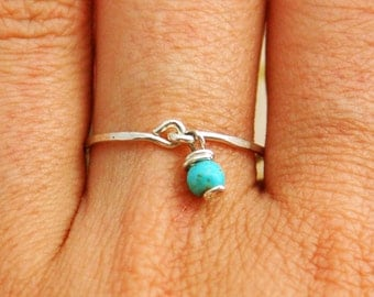 Silver sterling ring, gold ring, stacking ring, turquoise ring, pinky ring, stackable rings, stacking ring, stone ring, tiny ring