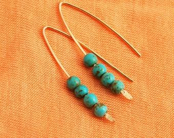 Turquoise earrings, simple everyday, ocean jewelry, turquoise stone, Simple Turquoise Earrings,Turquoise Jewelry,Gold Turquoise Earring