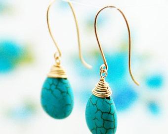 Turquoise earrings, gold earrings, 14k gold filled, bridesmaid earrings, turquoise jewelry, drop, turquoise, weddings, wire wrapped earrings