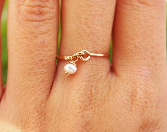 Pearl gold ring, 14k gold filled ring, delicate thin engagement ring, weeding, stacking ring, charm hammered ring