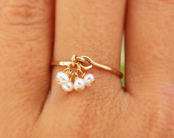 Pearl ring, ANY SIZE RING, tiny pearl earrings, engagement ring, tiny pearl vintage inspired ring, statement Ring, bridal jewelry, weddings