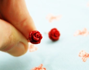Rose stud earrings, rose earrings, red stud earring, rose studs, stud earrings, gold stud earrings, flower post earrings, rose earrings