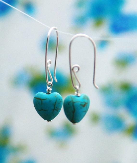 Turquoise earrings - silver heart earrings - turquoise sterling earrings - charm earings - silver earings