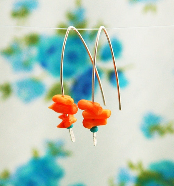 Coral and turquoise earrings, sterling silver earrings, long earrings, coral branch, orange earrings, charm earrings