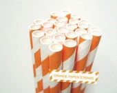 Striped Real ORANGE Paper Straws - set of 25 Orange Straws w/ DIY Party Straws Flags PDF