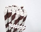 Striped Chocolate Brown Paper Straws Brown and White Stripe - set of 25 Brown Straws w/ DIY Straw Flags PDF