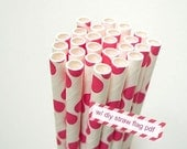 Pink RED Polka Dots Straws Pink Red and White Polka Dots - set of 25 Pink Red Straws w/ DIY Straw Flag PDF