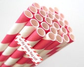 PINK RED Paper Straws Pink Red and White Striped Straws - set of 25 w/ DIY Straw Flags pdf