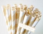 25 Striped IVORY Paper Straws Ivory Bridal Shower  Wedding Party Decoration Ivory Straws w/ DIY Straw Flags PDF