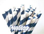 Striped NAVY Paper Straws Navy and White Stripe - set of 25 Navy Straws w/ DIY Straw Flags PDF