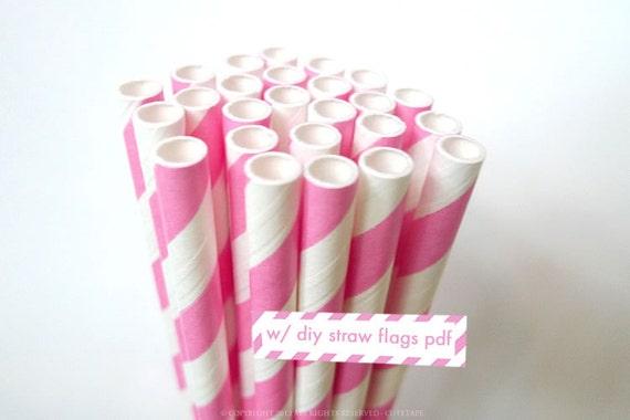 25 Princess PINK Paper Straws- Pink Straws w/ Straw Flag PDF - Baby Shower, Birthday, Wedding Party, Cake Pop Sticks