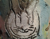 Raku Rabbit and Flower Tea Light Votive Candle Holder