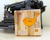 Mixed Media - Mini Canvas - Orange Bird - Collage - Art