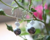 Pearl and Czech Glass Wire Wrapped Earrings