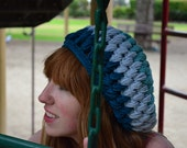 Shades of the Ocean Blue Crochet Tam Slouchy Hat