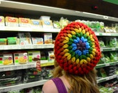 Rainbow Color Bright Slouchy Crochet Tam/Beanie