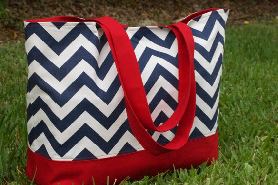 Large Navy Blue Chevron Tote Bag with Red lining, July 4th Tote