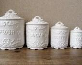 Vintage canister set - Antique white with ornate details