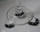 Set of 3 - Handmade Wine Glass Goblet Charms - Tom Dick Hairy - For Him