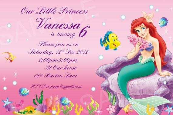 Ariel Invitation Invitation anniversaire princesse Disney