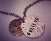 Love and Believe/Live Your Dreams Chain Necklace (silver and gold)