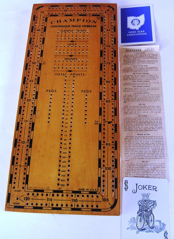 Vintage Cribbage Game from the Are Jay Game Company